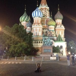 Me in front of St. Basil's Cathedral in Red Square- Moscow, Russia