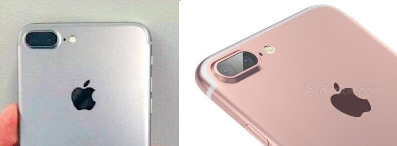 iPhone 7 Plus leaked photo (left) and matching Feld and Volk render (right). Image credits: MacRumors and Feld and VolkNAS