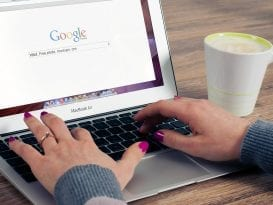 woman googling for business