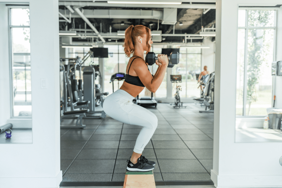 A girl working out