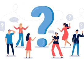 People ask question. Confused person asking questions, crowd finding answers and question sign vector illustration. Collective brainstorm, mutual assistance concept. Public problem solution service
